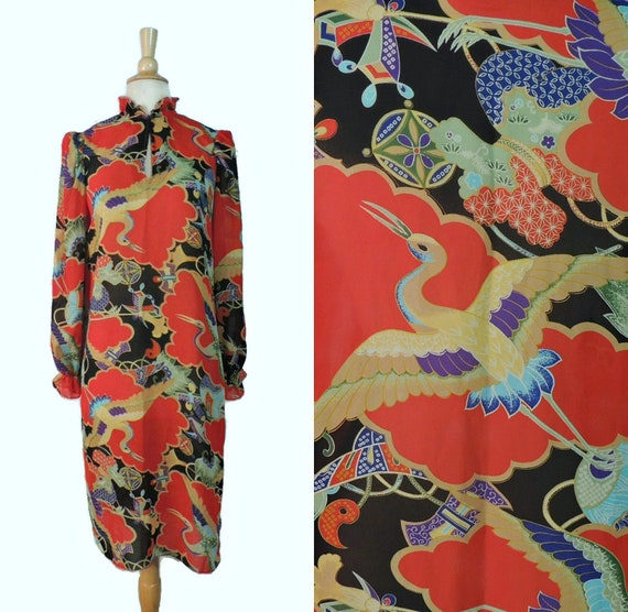 Vintage 80s Dress / Items Novelty Print Asian Insp