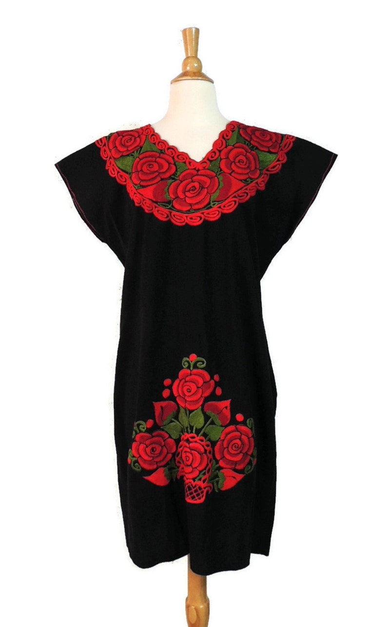 Vintage 70s Dress  Ethnic Mexican Red Rose Embroidered Flower Basket Frida Kahlo Style Black Cotton Peasant Bohemian Fiesta Caftan L XL XXL