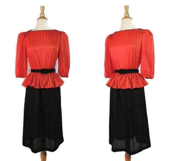 Vintage 70s Dress / does 40s Big Band Era Cherry R