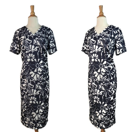 Vintage 60s Dress / Navy Blue White Abstract Flora
