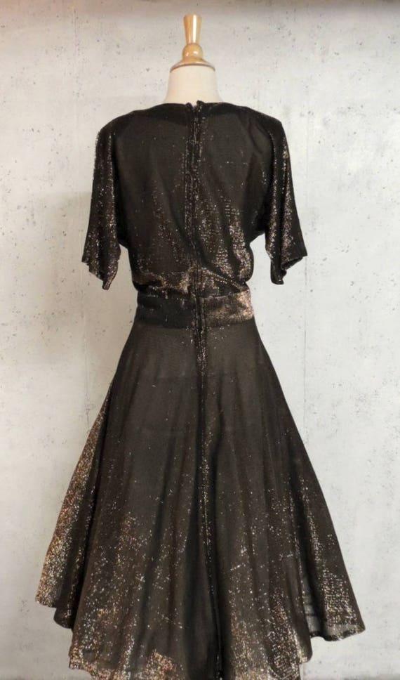 Party Gal Frock Fit Copper Dramatic Tall Lurex Black Vintage Dress n Drop Flare Metallic Swing 50s Waist ZwWwqgavPU