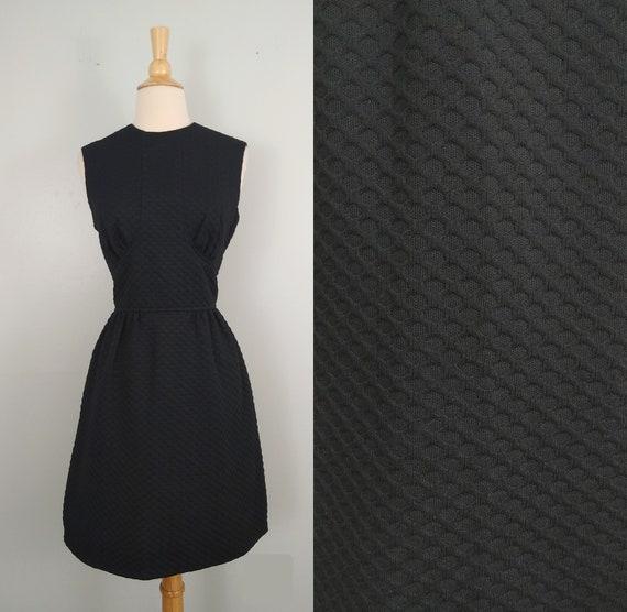 Vintage 60s Dress / Gay Gibson Inky Black Wafflewe