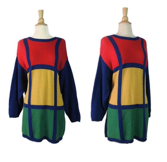 Vintage 80s Sweater / Liz Co MOD Mondrian Colorblo