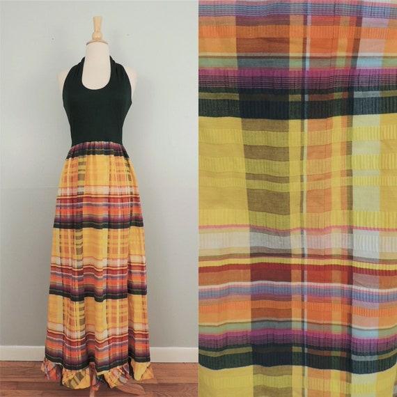 Vintage 70s Dress / Ricco Hunter Green Yellow Madr
