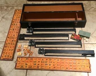 Vintage 152 Bakelite Tile Mahjong Set or Game in a Case