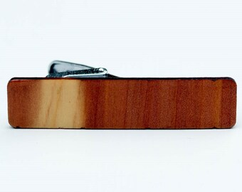 Solid Cedar Wood Tie Clip Clamp. Natural color. 2 inch by 1/2 inch.