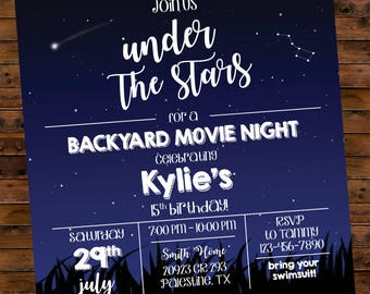 Movie night invite etsy printable birthday invitation under the stars backyard movie night party customized digital file only filmwisefo