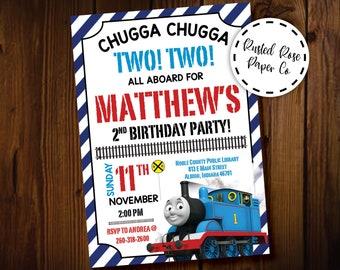 Train Birthday Thomas And Friends Boy Invitation Chugga Two Second Invite Printable