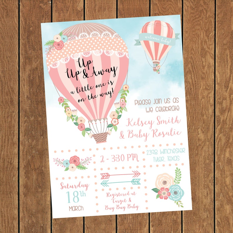 Hot Air Balloon Baby Shower Invitation Girl Baby Shower Hot Etsy