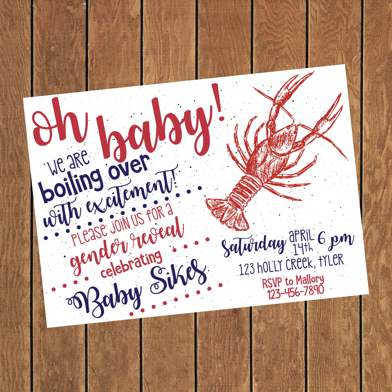 Crawfish Gender Reveal Invitation Crayfish Boil Baby Gender Etsy