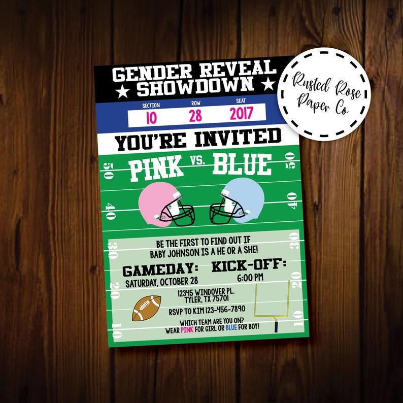 Football Gender Reveal Invitation Baby Fall Ticket Gameday Kick Off Shower