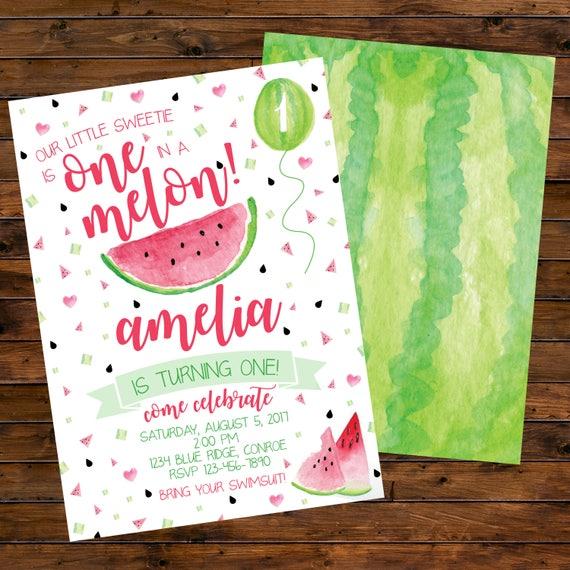 watermelon birthday invitation first birthday girl invite etsy
