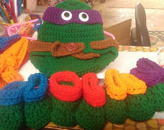 Crochet teenage mutant ninja turtles baby photo prop set