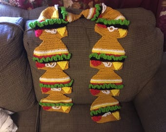 Crochet cheeseburger scarf