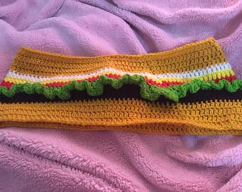 Crochet cheeseburger Cowl pattern