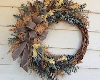 Rustic WreathFront Door Silk Floral WreathYear Round WreathPrimitive WreathSpring WreathWoodland Wreath