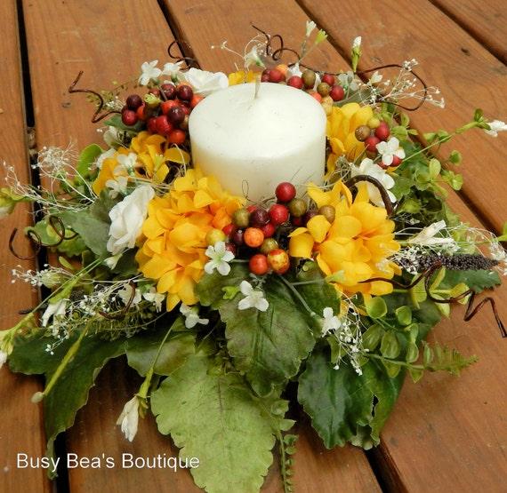 Designer centerpiece silk floral candle ring year round etsy image 0 mightylinksfo