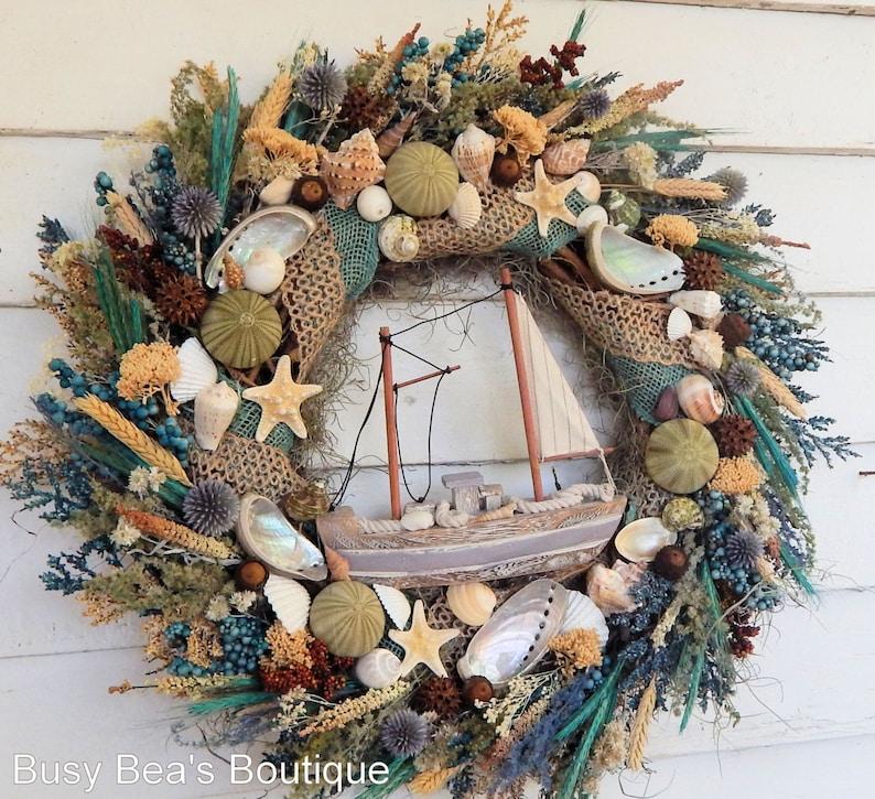 Coastal Seashell Wreath w Sailboat Safe Harbor Nautical Wreath Seashore Wreath Front Door Wreath Beach Wreath Sailboat Wreath