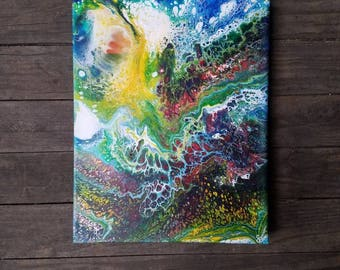 "COSMIC ENERGY 11""x14"" acrylic painting, gallery canvas, ready to hang, original artwork, free shipping"