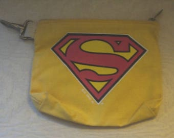 SUPER HERO BAG, Canvas Bag, Travel Pouch, Clip On Purse, Special Organizer, Zipper Closure