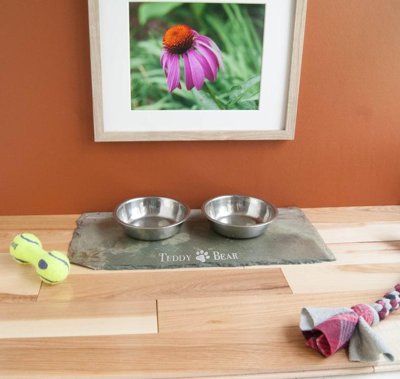 Cat or Dog Print 9x16 Hand Painted Pet Mat Personalized Slate Pet Food Mat Pet Placemat Large Dog