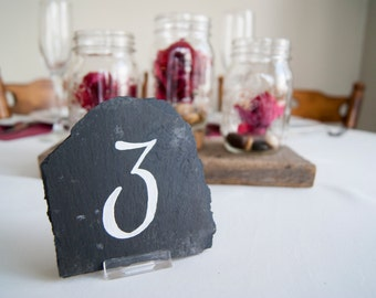 Slate Table Numbers - Script (Qty 10+)