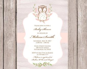 Baby Shower Invitation, Baby Shower Invitation Girl, Baby Shower Invites, Owl Baby Shower Invitation, Girl Baby Shower Invitations