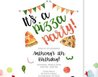 pizza party invitation etsy