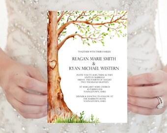 Tree Wedding Invitation, Tree Wedding Invite, Love Tree Wedding Invitation, Wedding Invitation, Modern Wedding Invitation