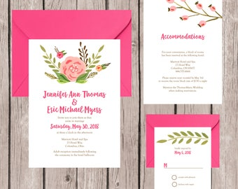 Wedding Invitation, Wedding Invitation Set, Wedding Invites, Modern Wedding Invitation, Wedding Invitation Suite, Flower Wedding Invitation