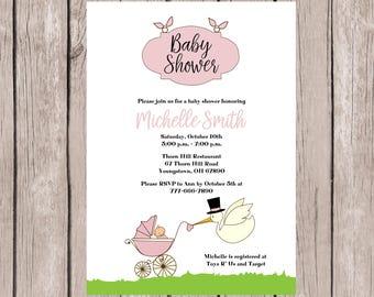 Girl Baby Shower Invitation, Baby Girl Shower Invites, Baby Shower Invitation Girl, Baby Shower Invitation Stork, Baby Shower Invitation