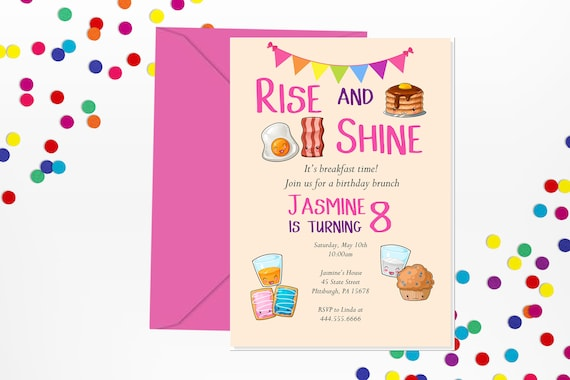 breakfast invitation brunch invitation breakfast birthday etsy