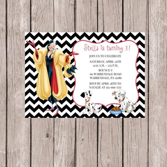 101 Dalmatians Invitation 101 Dalmatians Party Cuella De Etsy