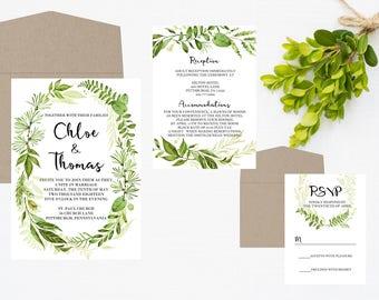 Wedding Invitation, Wedding Invite, Greenery Wedding Invitation, Invitation Set, Wreath Invitation, Invitation, Wedding