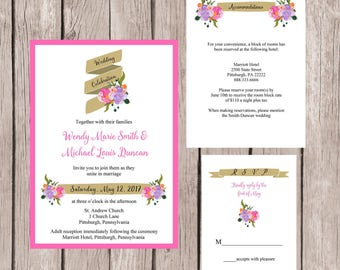Wedding Invitation, Wedding Invitation Set, Wedding Invites, Modern Wedding Invitations, Custom Wedding Invitation, Wedding Invitation Suite