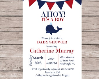 Boy Baby Shower Invitation: Whale, Navy, Red