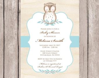 Baby Shower Invitation, Boy Baby Shower Invitations, Baby Shower Invites, Baby Shower Boy, Owl Baby Shower Invitations