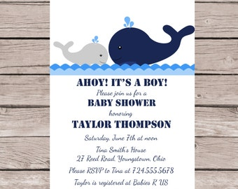 Whale Baby Shower Invitation, Whale Invitation, Whale Baby Shower Invites, Boy Baby Shower Invitation, Nautical Baby Shower Invitation