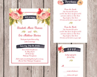 Wedding Invitation, Wedding Invitation Set, Wedding Invites, Rose Wedding Invitation, Flower Wedding Invitation, Custom Wedding Invitations