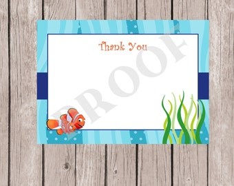 Finding Nemo Thank You Card, Finding Nemo, Finding Nemo Baby Shower, Finding Nemo Birthday, Thank you note, Fish Thank You