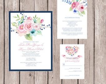 Wedding Invitation, Wedding Invitation Set, Floral Wedding Invitations, Custom Wedding Invitation, Wedding Invitation Suite, Watercolor