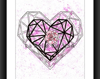 Watercolor Geometric Heart Flower Love Digital Downloadable Print Art