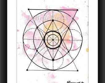 Geometric Triangles and Circles Time Hourglass Watercolor Digital Downloadable Print Art