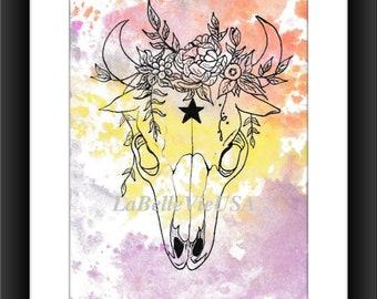 Watercolor Floral Star Cow Skull Digital Downloadable Print Art