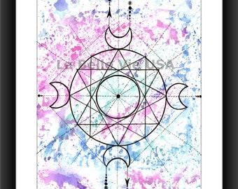 Watercolor Geometric Balance Crescent Moon Digital Downloadable Print Art