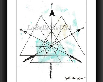 Geometric Triangles and Arrows Mountains Watercolor Digital Downloadable Print Art