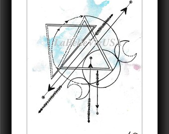 Geometric Triangles and Circles Triple Moon Watercolor Digital Downloadable Print Art