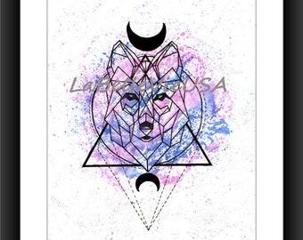 Watercolor Geometric Wolf Downloadable Digital Print Art