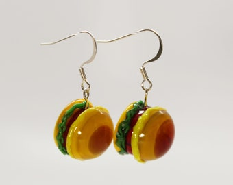 Lampwork cheeseburger earrings
