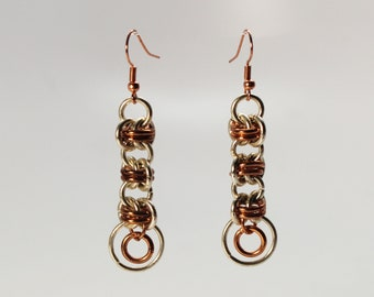 Silver tone and copper barrel weave chainmaille earrings